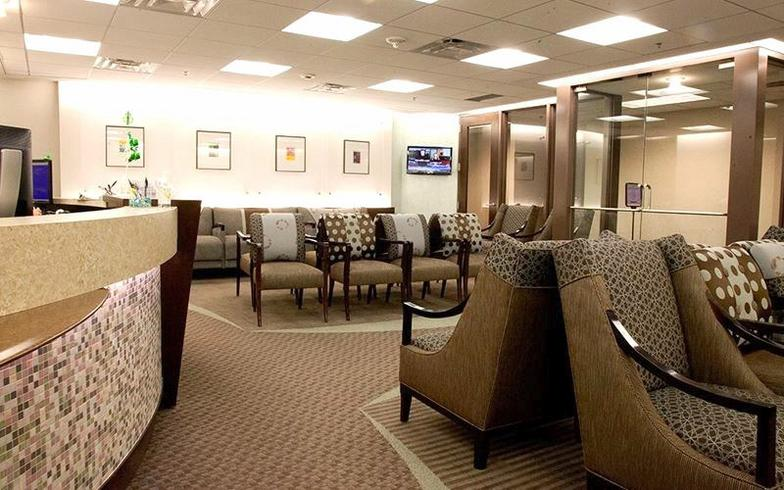 Tulsa OBGYN Medical Offices With Custom Designed Seating And Textiles  Patterns In Rich Aqua And Brown