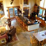The Colorado kitchen BEFORE renovation , looking down from the master bedroom landing.